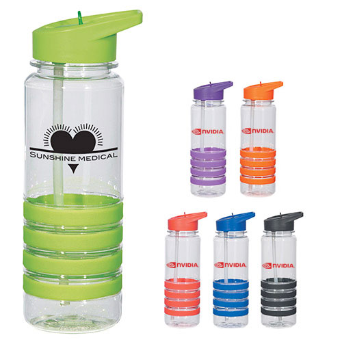 21867 - 24 oz. Banded Gripper Bottle with Straw