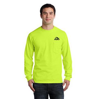 23665 - Gildan®Ultra Cotton®Long Sleeve T-Shirt with Pocket (Safety Green)