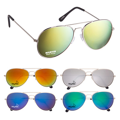 23998 - Color Mirrored Aviator Sunglasses