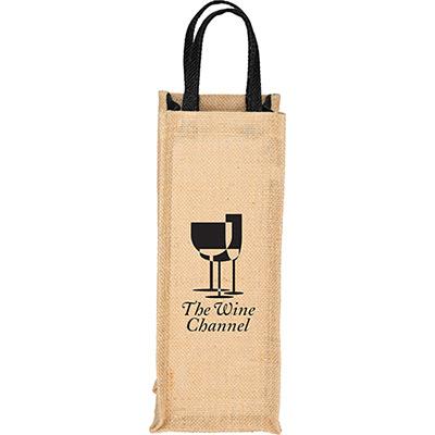 25759 - Jute Single Bottle Wine Tote