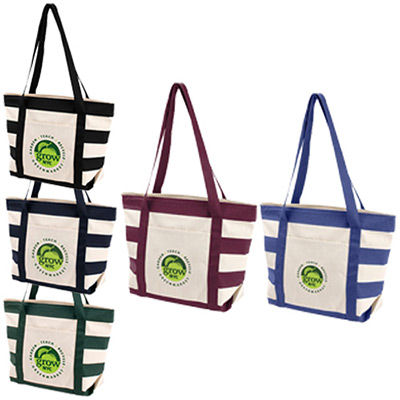 26013 - Striped Accent Boat Tote Bag- Full Color