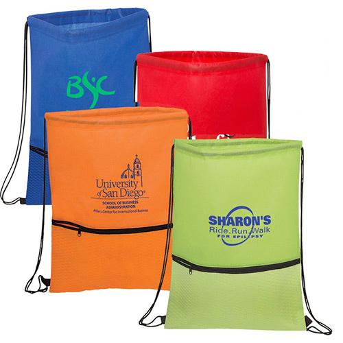 26039 - Texture Pocket Non-Woven Drawstring Backpack