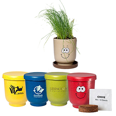 27469 - Goofy Group™ Grow Pot Eco-Planter With Chive Seeds