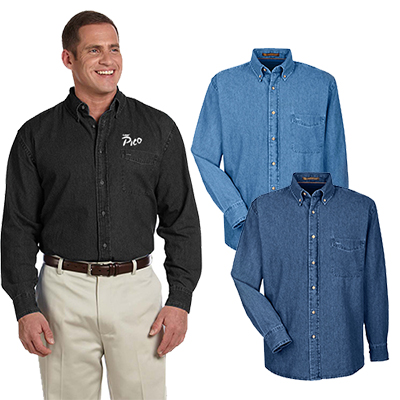 29689 - Harriton Men's 6.5 oz. Long-Sleeve Denim Shirt