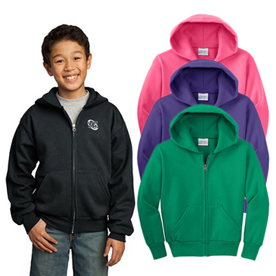 30544 - Port & Company® - Youth Core Fleece Full-Zip Hooded Sweatshirt