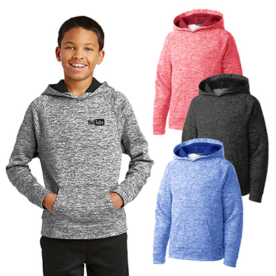 30552 - Sport-Tek® Youth PosiCharge® Electric Heather Fleece Hooded Pullover
