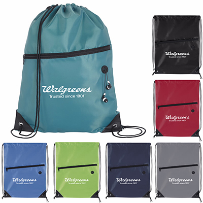 30635 - Front Zip Drawstring Backpack