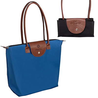 30894 - Folding Tote with Leather Flap Closure