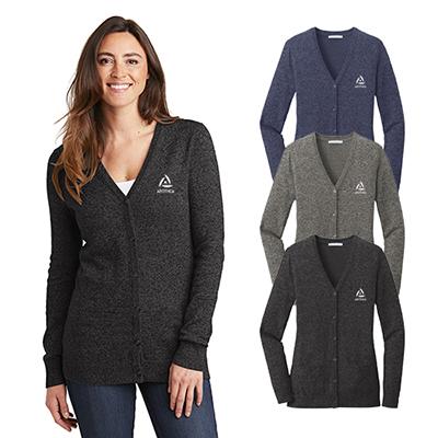 31544 - Port Authority Ladies Marled Cardigan Sweater