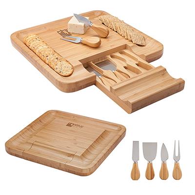 31808 - Lorenzi 4 Piece Bamboo Cheese Tray