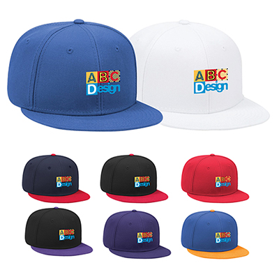 31988 - Wool Blend Twill Round Flat Visor Pro Style Snapback Hat