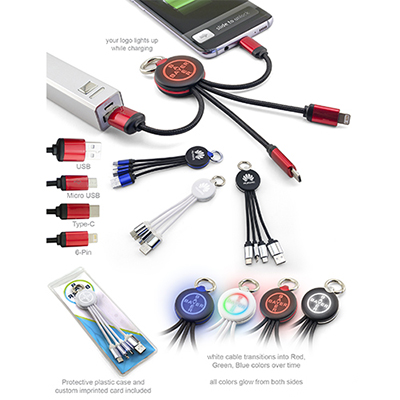 32097 - Lunar 3 in 1 Light-Up Cable with Carabiner Ring