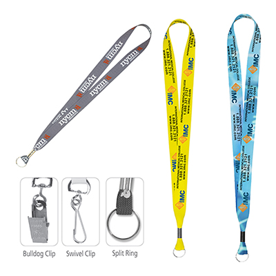 """32377 - 1"""" Textured Polyester Multi-Color Sublimation Lanyard"""