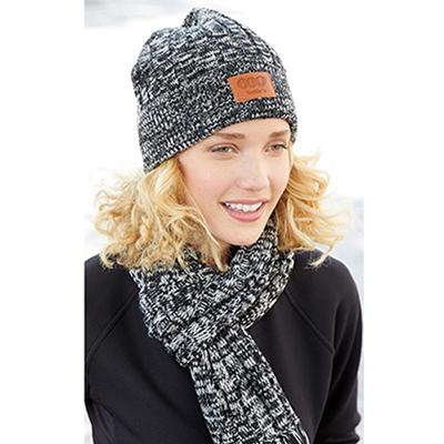 32549 - Leeman™ Heathered Knit Cuffed Rib Beanie