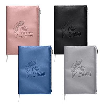 32556 - Softbound Metallic Foundry Journal with Zipper Pocket
