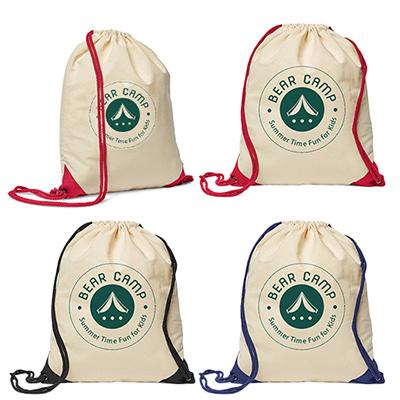 32630 - 5 oz. Cotton Ridge Accent Corner Drawstring Backpack