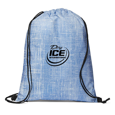 32626 - Denim Pattern Non-Woven Drawstring Backpack
