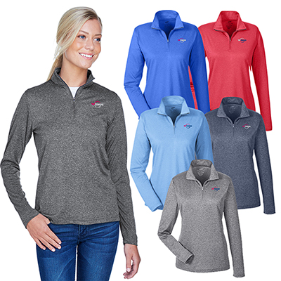 32805 - UltraClub Ladies' Cool & Dry Heathered Performance Quarter-Zip