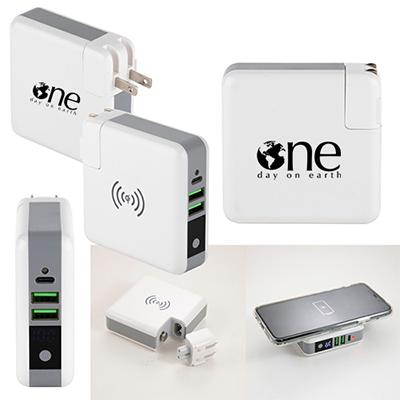 32914 - Monterey 6700 mAh Wall Adapter Powerbank / Wireless Charger