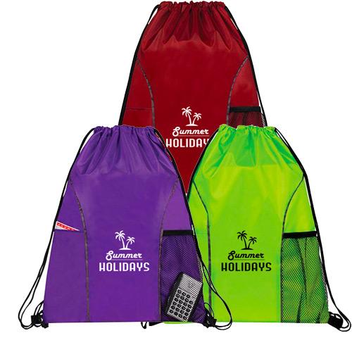32972 - Dual Pocket Drawstring Backpack
