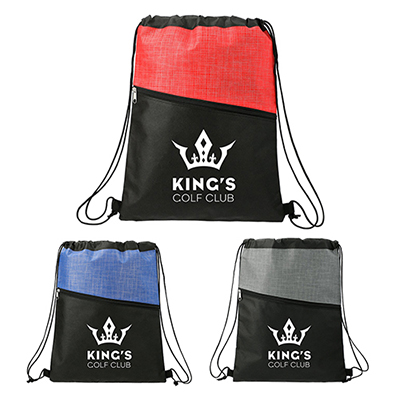 33176 - Cross Weave Zippered Drawstring Bag