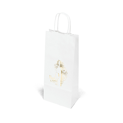 33255 - Vino-White Paper Bag - Foil Stamp imprint