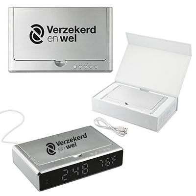 33556 - UV Sanitizer Desk Clock with Wireless Charging