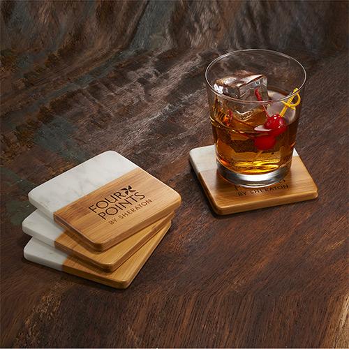 33583 - Marble and Bamboo Coaster Set