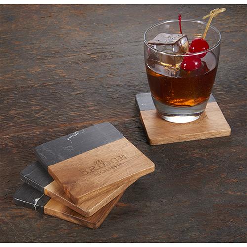 33584 - Black Marble and Wood Coaster Set