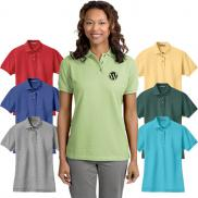 promotional port authority® ladies heavyweight cotton pique polo