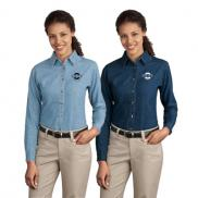 promotional port & company® - ladies long sleeve value denim shirt