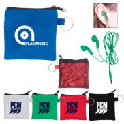 promotional ear buds in zip pouch