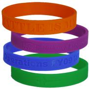 promotional custom debossed wristbands 3/4