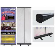 promotional retractable fabric banner with black stand