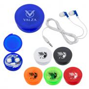 promotional ear buds in round plastic case