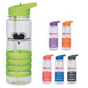 promotional 24 oz. banded gripper bottle with straw