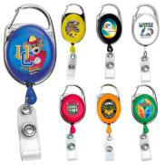 promotional 30 retractable carabiner style badge reel
