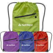 promotional nylon drawstring backpack with zipper
