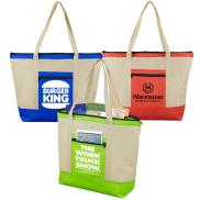 promotional country aire zippered tote bag