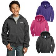 promotional port & company® - youth core fleece full-zip hooded sweatshirt