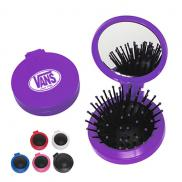 promotional folding hair brush with mirror