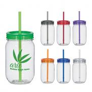 promotional 25 oz. mason jar with matching straw