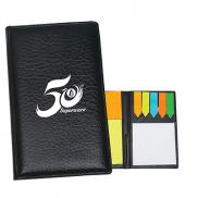 promotional leather look padfolio with sticky notes & flags
