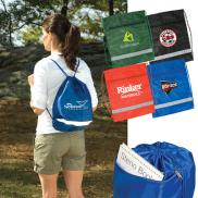promotional zippered string-a-sling backpack