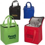 promotional non-woven cubic lunch bag with id slot