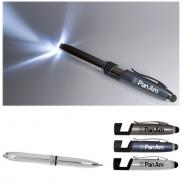 promotional multi function metal stylus pen light & phone stand