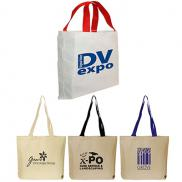 promotional gusseted cotton canvas tote bag
