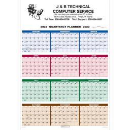 Single Sheet Wall Calendar - Quarterly