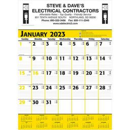 Commercial Planner Wall Calendar - Yellow & Black