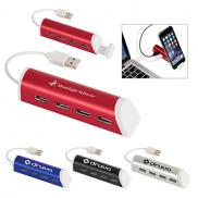 promotional 4-port aluminum usb hub with phone stand